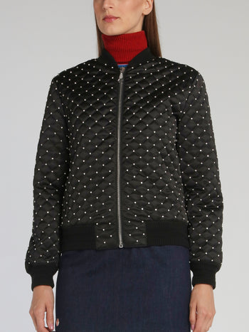 Black Crystal Embellished Bomber Jacket