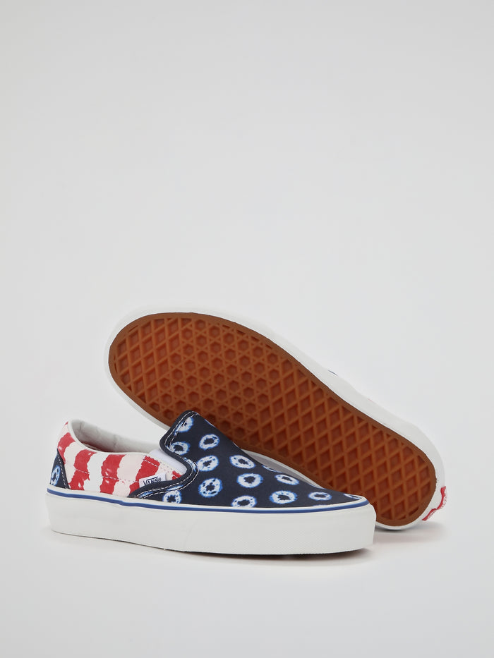 Dyed Dots & Stripes Slip On Sneakers