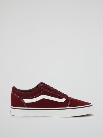 Burgundy Ward Lace Up Trainers