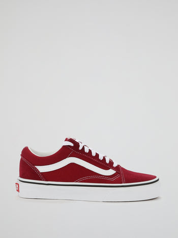 Burgundy Old Skool Lace Up Sneakers