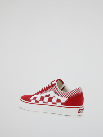 Red Check Old Skool Lace Up Sneakers