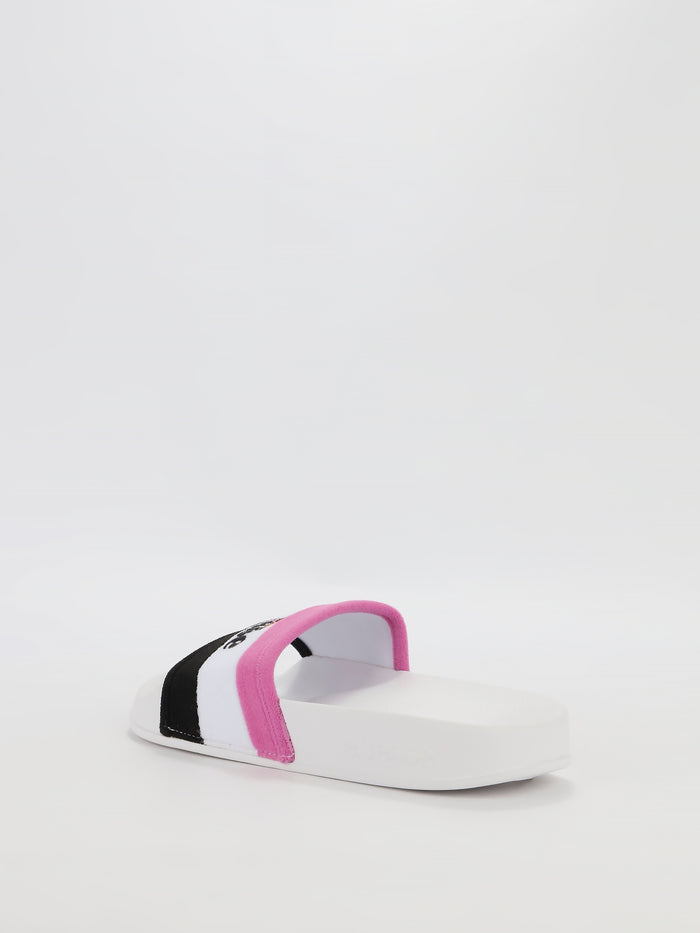 Borgaro White Logo Stripe Slides