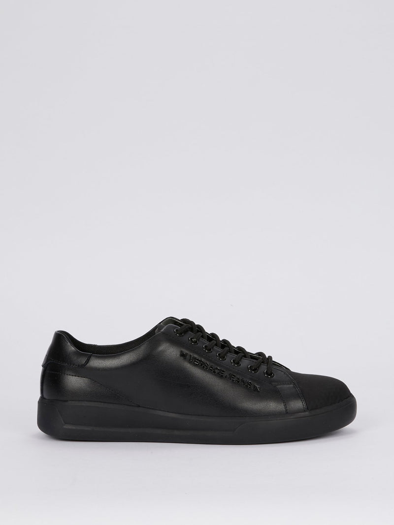 Black Perforated Cap Toe Leather Sneakers