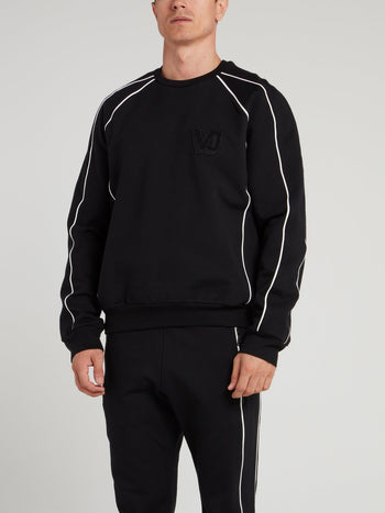 Black Logo Appliquéd Sweatshirt