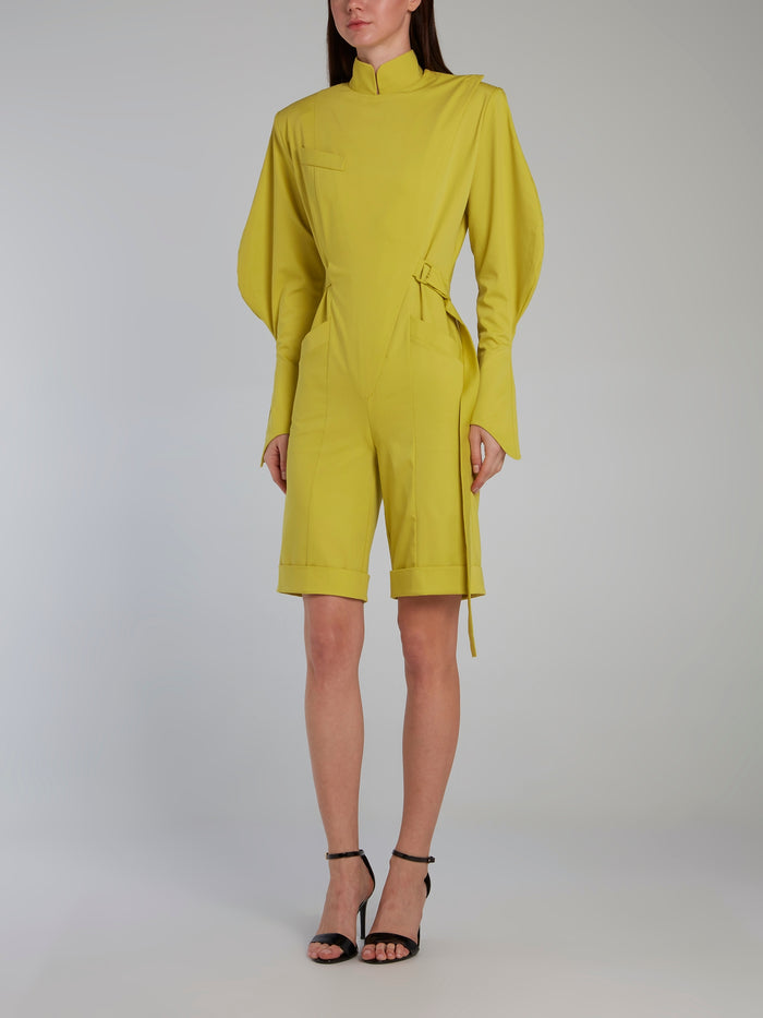 Chartreuse Belted Cotton Jumpsuit