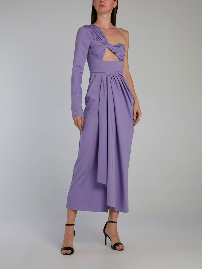 Purple One Shoulder Draped Midi Dress