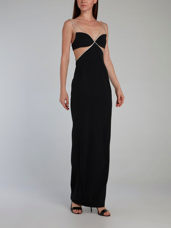 Black Crystal Chain Trim Detail Evening Gown