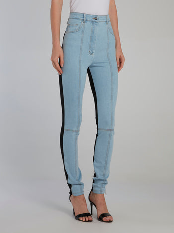 Half Jersey Half Denim Leggings