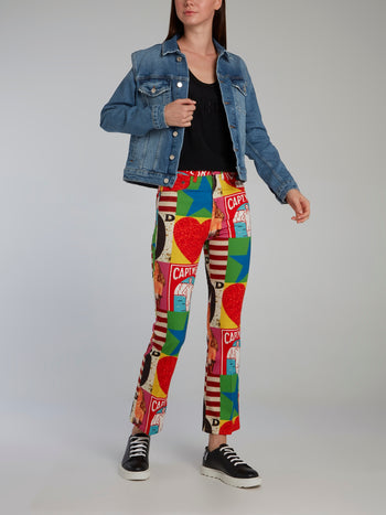 Peter Blake Graphic Print Bootcut Jeans