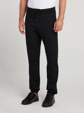 Black Embossed Monogram Trousers