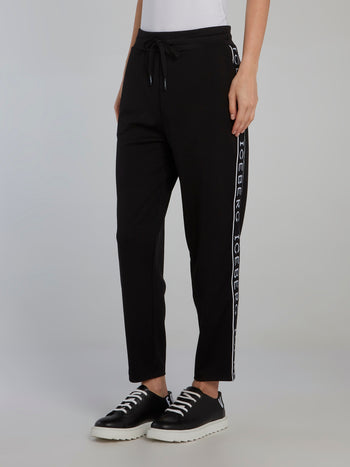 Black Logo Tape Drawstring Sweatpants