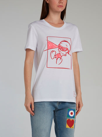 White Sequin Embellished Tweety Bird T-Shirt
