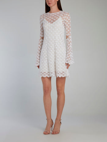 White Crochet Overlay Mini Dress