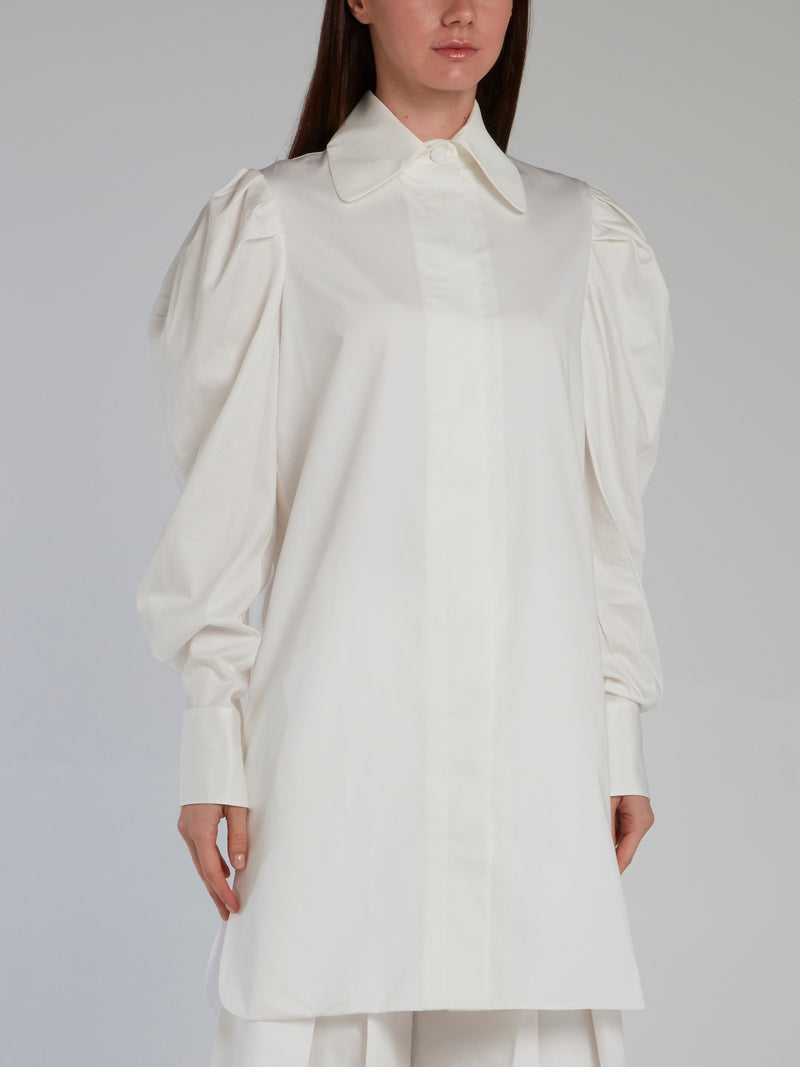 White Leg Of Mutton Sleeve Blouse