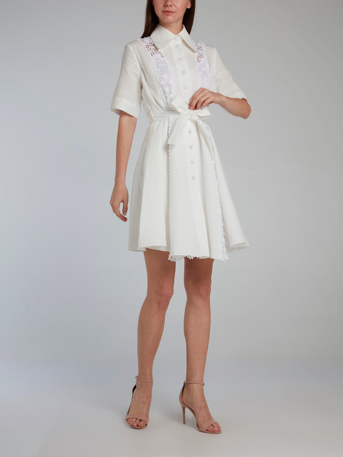 White Crochet Panel Linen Shirt Dress