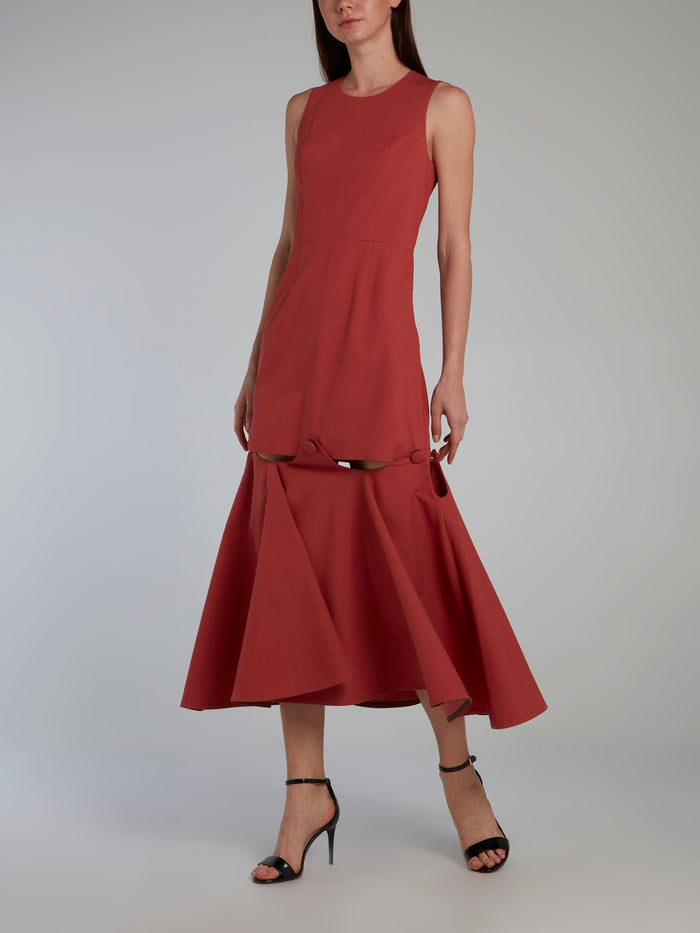 Burgundy Removable Detail Brick Dress