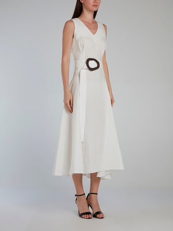 White Belted V-Neck Midi Dress