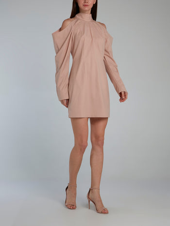 Beige Cold Shoulder Halter Dress