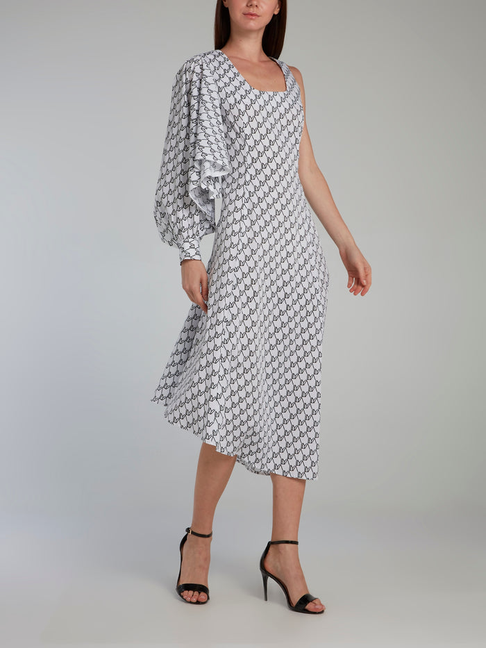 Monogram Print Single Sleeve Dress