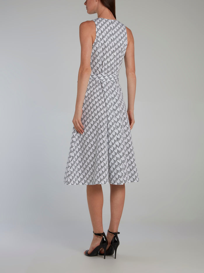 Monogram Print Tie Front Midi Dress