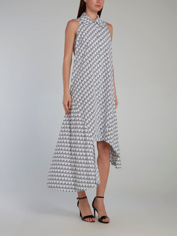 Asymmetrical Sleeveless Monogram Dress