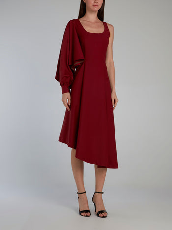 Burgundy Single Sleeve Scoop Neck Dress