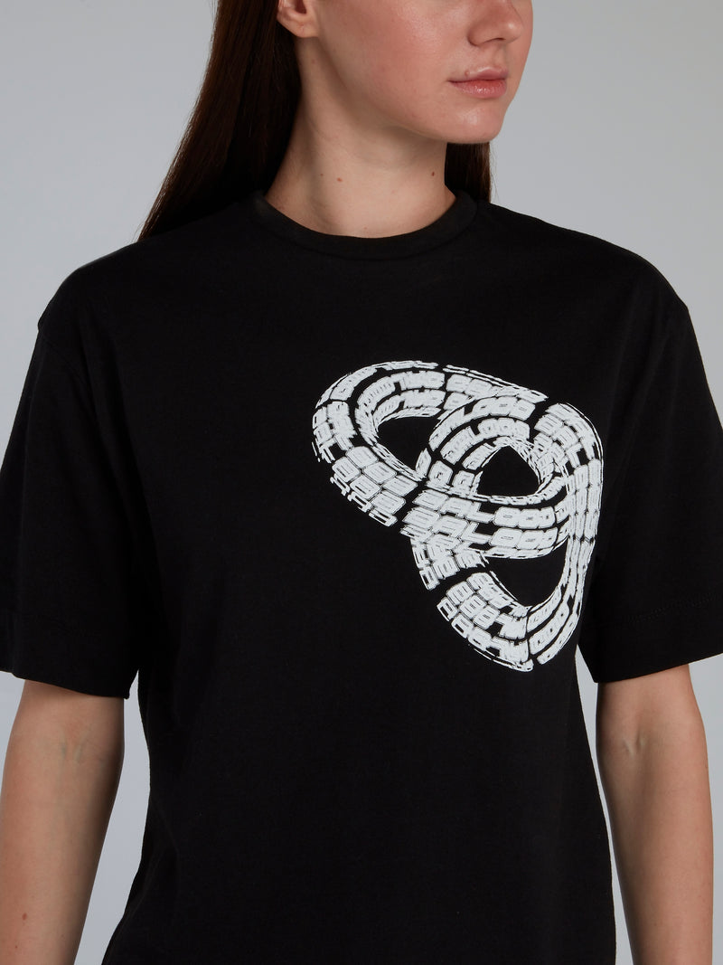 Black 3D Print Crewneck T-Shirt