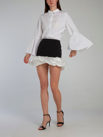 Contrast Bubble Hem Mini Skirt