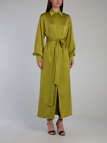 Chartreuse Tie Front Shirt Dress