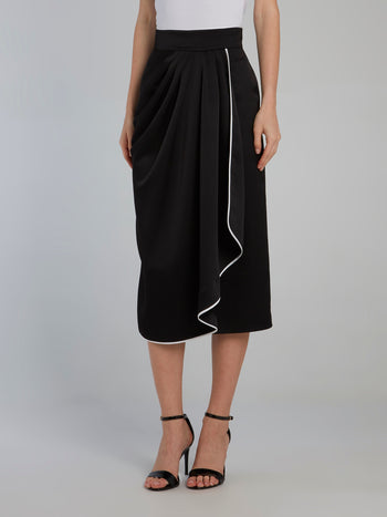 Black Draped Midi Skirt