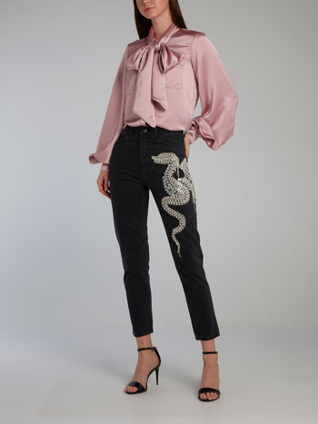 Pink Bow Tie Bishop Sleeve Shirt