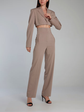 Beige High Rise Straight Pants