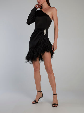 Crystal Chain Hanging Motif Ruched Feather Dress
