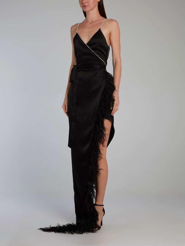 Black Crystal and Feather Trim Cami Wrap Gown