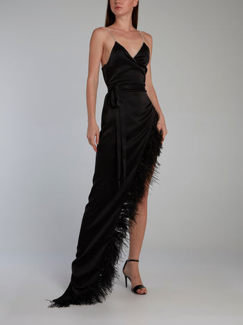 Crystal and Feather Trim Cami Wrap Gown