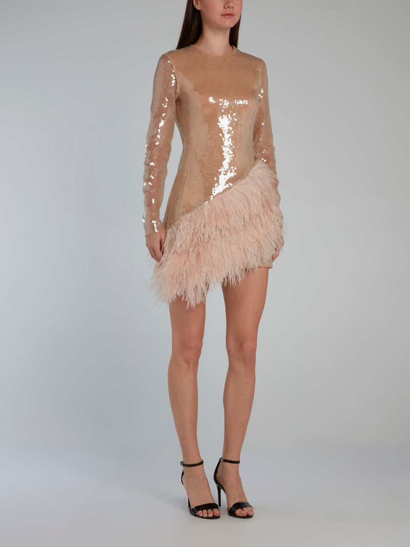 Beige Feather Hem Long Sleeve Sequin Dress