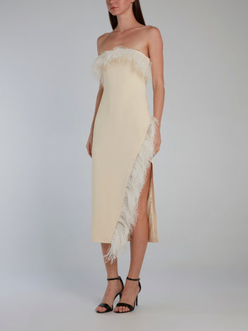 Feather Trim Asymmetrical Hem Strapless Midi Dress