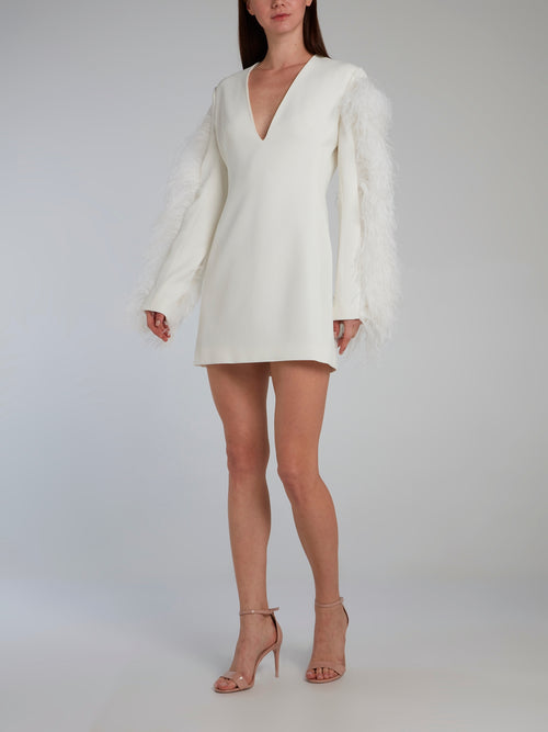 White Feather Sleeve V-Neck Mini Dress