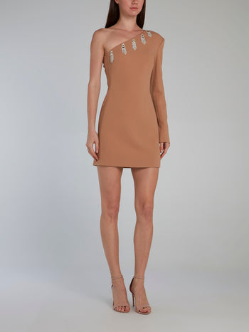 Beige Asymmetric Embroidered Mini Dress