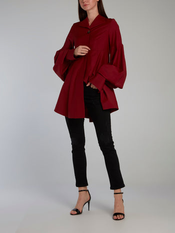 Burgundy Bishop Sleeve Shirt Dress