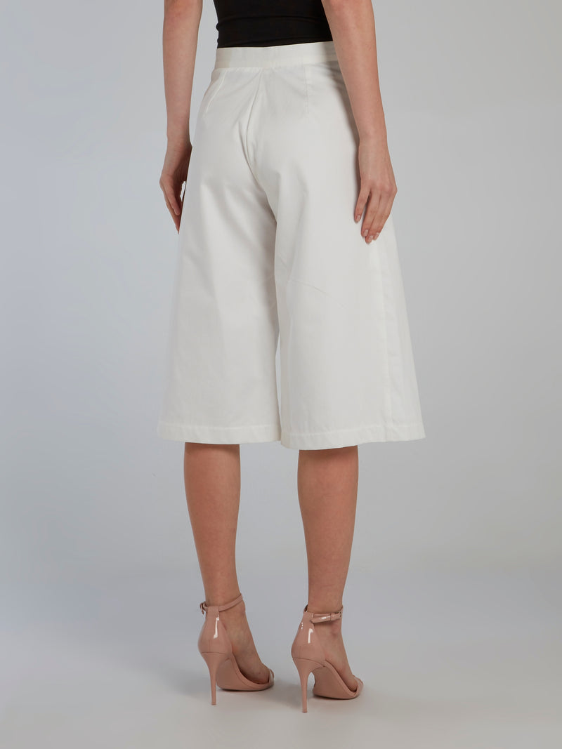 White Wide Leg Pleated Culottes