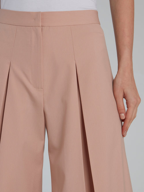 Beige Pleated Pinstripe Culottes