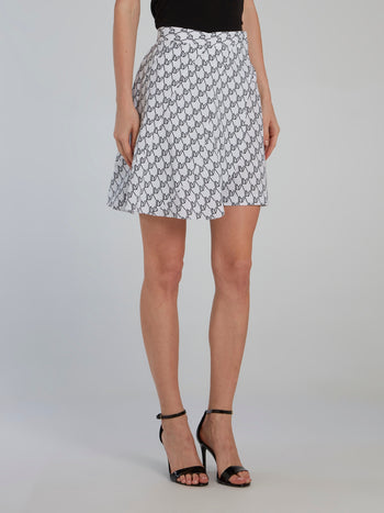 Asymmetric Monogram Print Shorts