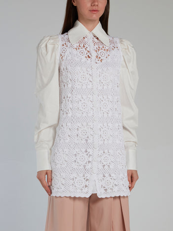 White Crochet Detail Puff Sleeve Shirt