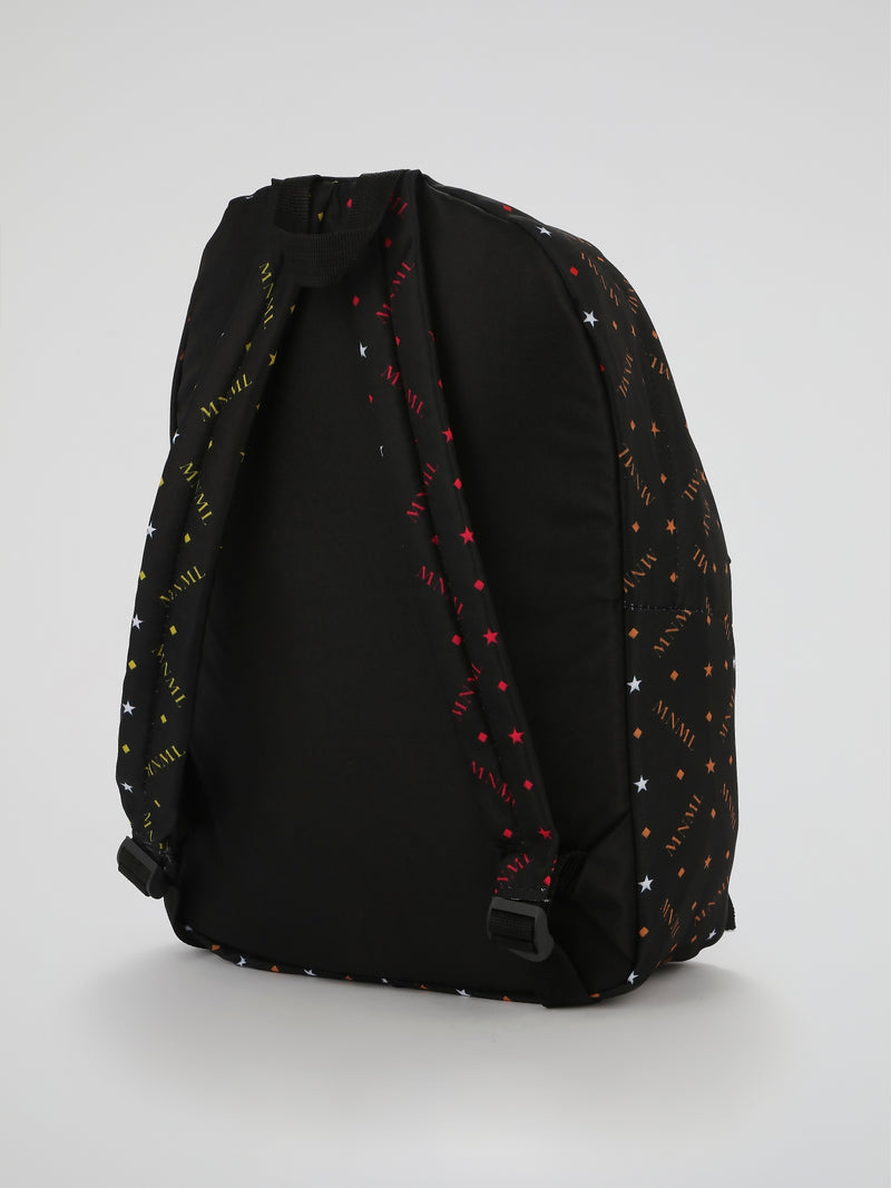 Black Rhombus Monogram Print Backpack