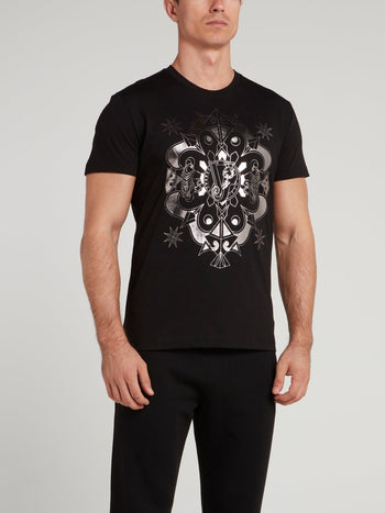 Black with Metallic Monogram Print T-Shirt