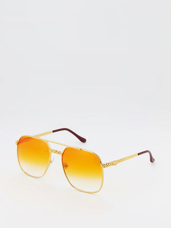 Orange Gradient Oversized Sunglasses