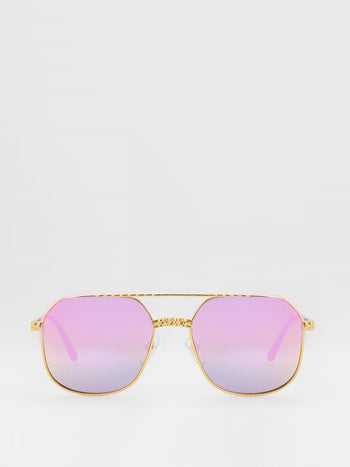 Purple Flat Lens Aviator Sunglasses