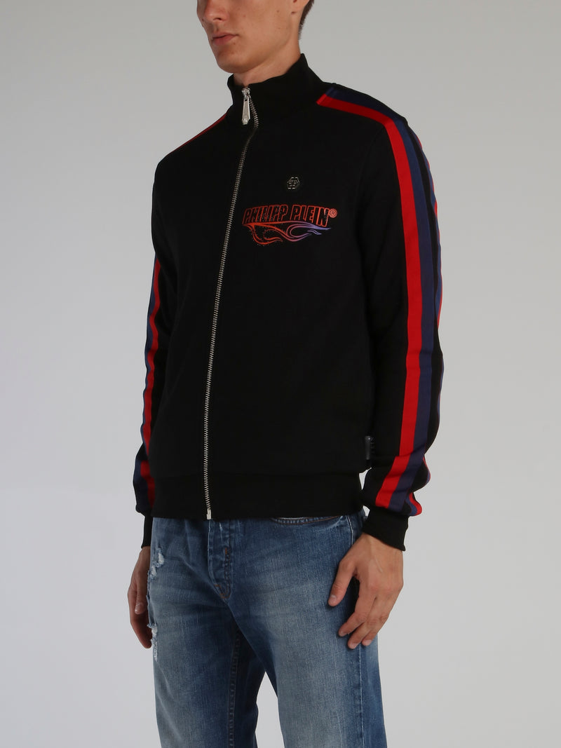 Flame Black High Neck Jogging Jacket