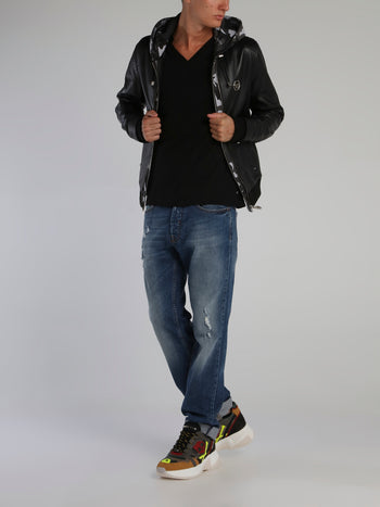 Black Camo Panel Leather Jacket